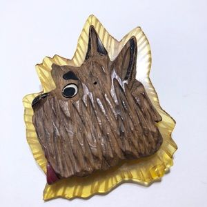 Art Deco wood & lucite dog early brooch pin